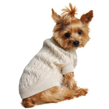 OATMEAL COMBED COTTON CABLE KNIT DOG SWEATER