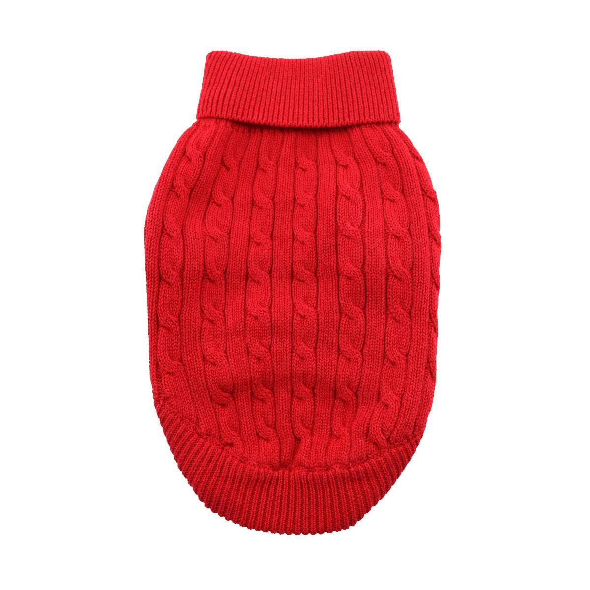 0cf0db7c9 FIERY RED COMBED COTTON CABLE KNIT DOG SWEATER