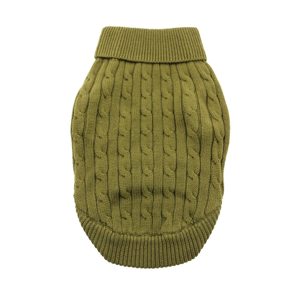 HERB GREEN COMBED COTTON CABLE KNIT DOG SWEATER, Sweaters - Bones Bizzness