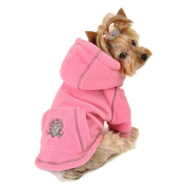 PINK CREST FLEECE DOG HOODIE, Sweaters - Bones Bizzness