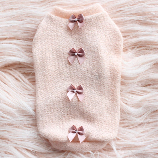 DAINTY BOW DOG SWEATER-PEACH