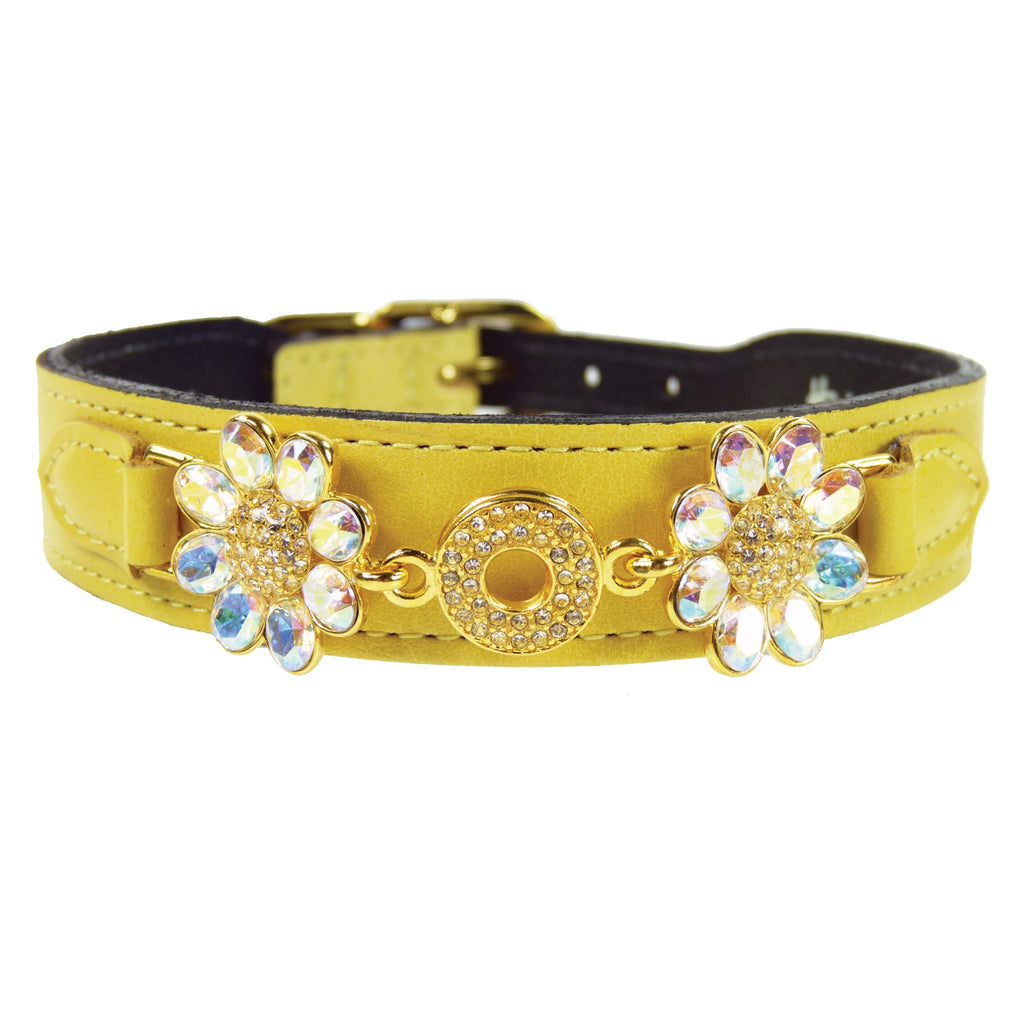 DAISY IN CANARY YELLOW & AURORA BOREALIS CRYSTALS DOG COLLAR, Collars - Bones Bizzness