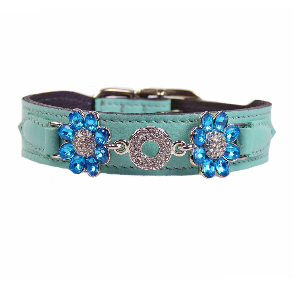 DAISY IN TURQUOISE & NICKEL DOG COLLAR, Collars - Bones Bizzness