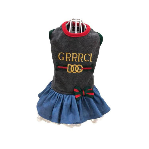 GRRRCI VINTAGE BLACK DENIM DOG DRESS