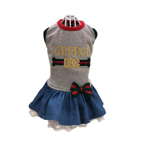GRRRCI DENIM LACE DOG DRESS