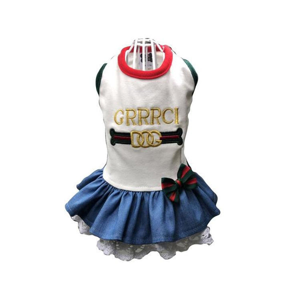 GRRRCI VINTAGE WHITE DENIM DOG DRESS