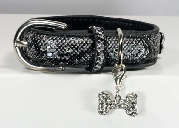 BONE CHARM COLLAR - BLACK