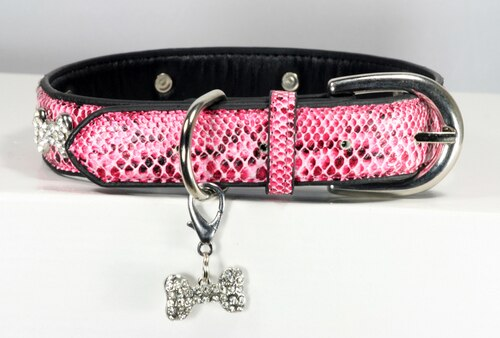 HIP DOGGIE BONE CHARM COLLAR - PINK