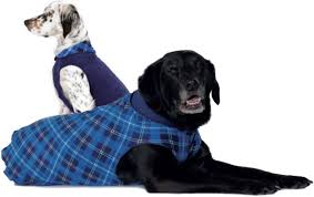 BLUE PLAID/NAVY DULUTH DOUBLE FLEECE DOG SWEATER, Sweaters - Bones Bizzness