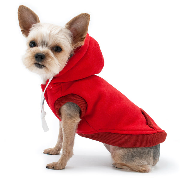 DRAWSTRING DOG HOODIE - RED