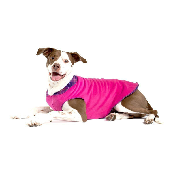 DULUTH DOUBLE FLEECE DOG SWEATER MULBERRY PLAID/FUSCHIA