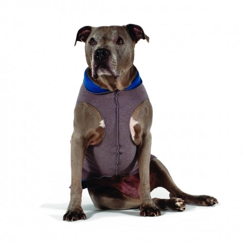 CHARCOAL/MARINE DULUTH DOUBLE FLEECE DOG SWEATER, Sweaters - Bones Bizzness