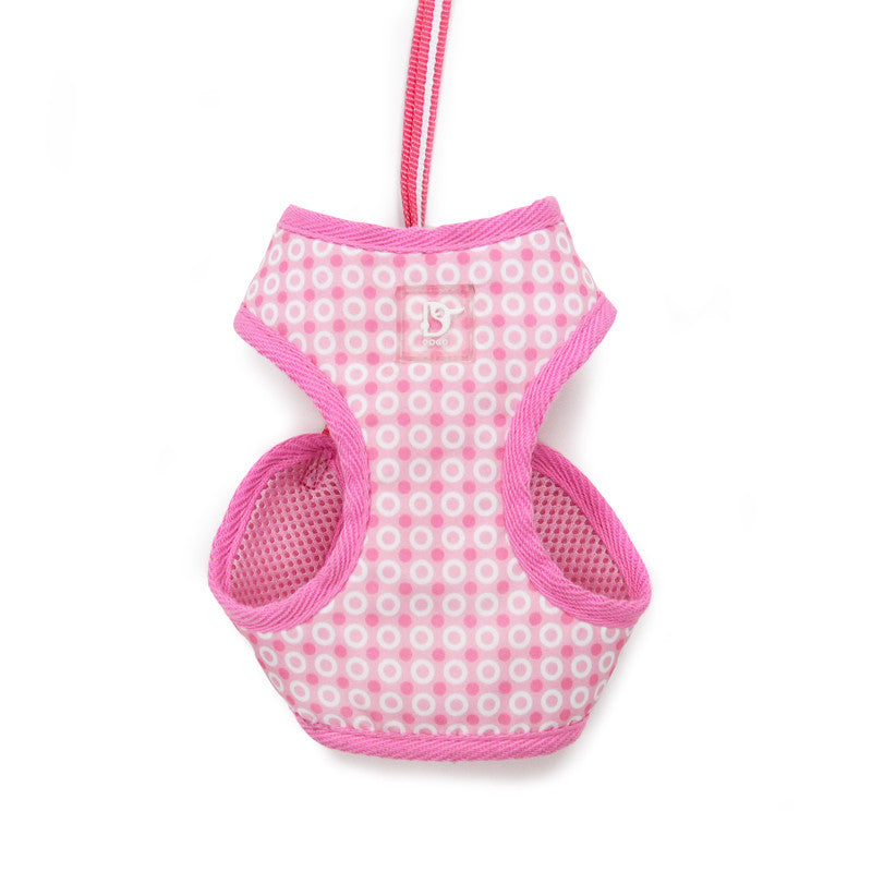 PINK DOTS SOFT STEP-IN EASYGO DOG HARNESS, Harness - Bones Bizzness