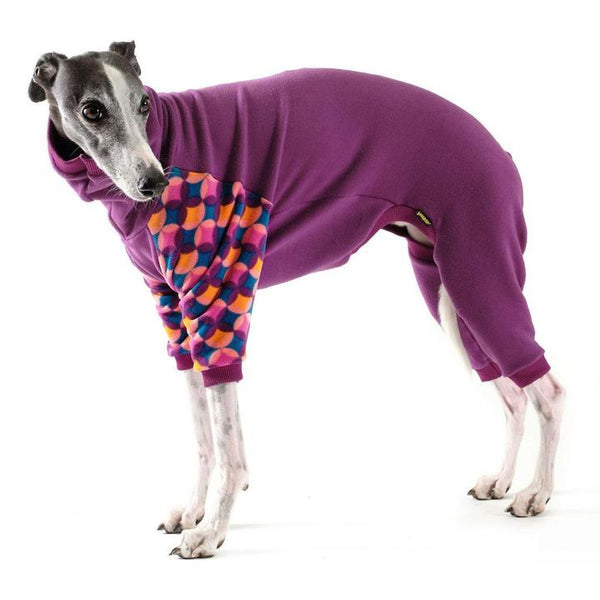 STRETCH FLEECE ONESIE DOG PAJAMAS EGGPLANT/SUMMER MOD