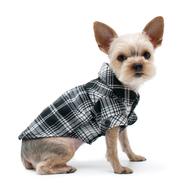BLACK FLANNEL BUTTON DOWN DOG SHIRT