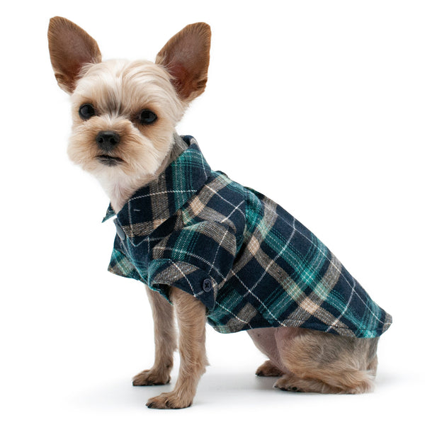 BLUE FLANNEL BUTTON DOWN DOG SHIRT