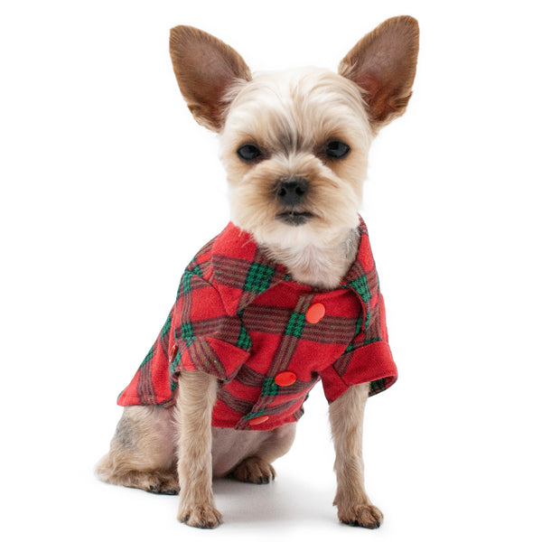 FLANNEL BUTTON DOWN DOG SHIRT - RED/GREEN
