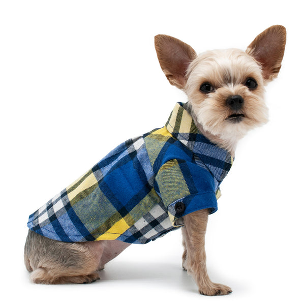FLANNEL BUTTON DOWN DOG SHIRT - YELLOW/BLUE