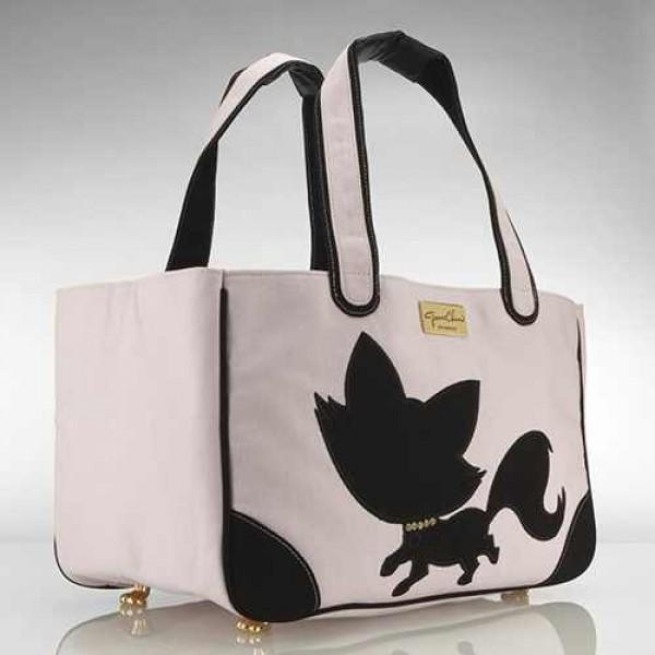 Foxy Pom Rescue Me Tote Canvas Dog Carrier Pink