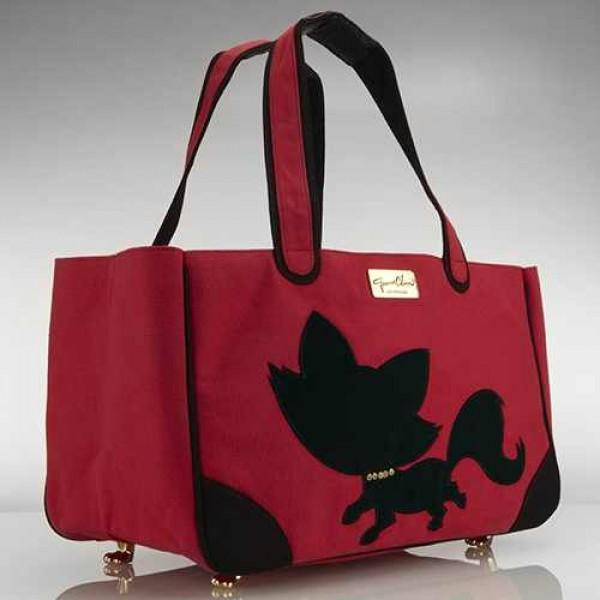 Foxy Pom Rescue Me Tote Canvas Dog Carrier Red