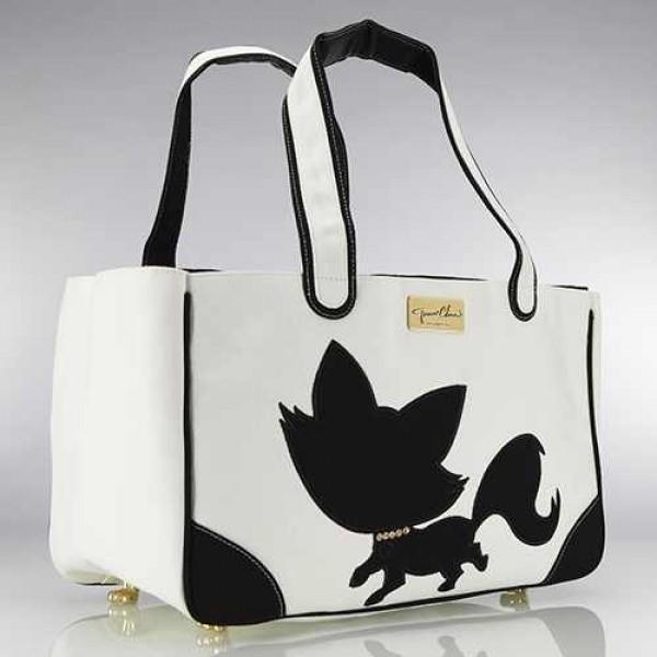 Foxy Pom Rescue Me Tote Canvas Dog Carrier White