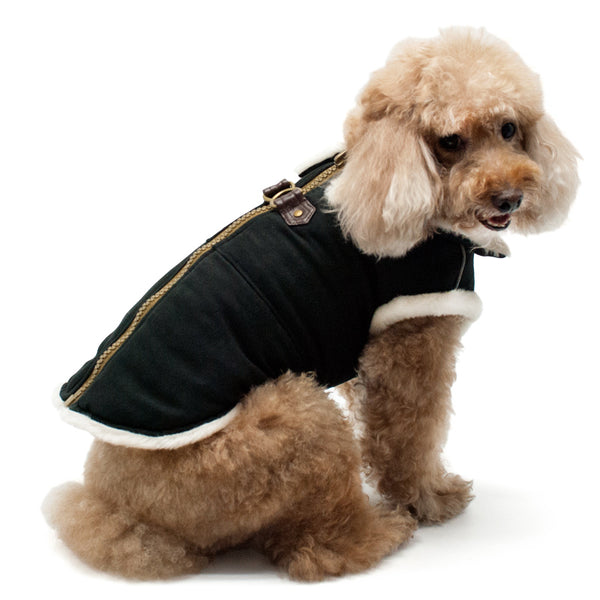 BLACK FURRY RUNNER DOG COAT, Coats - Bones Bizzness