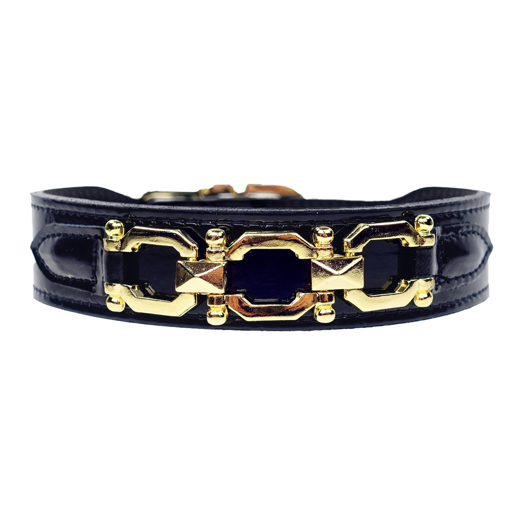 GEORGIA ROSE IN BLACK PATENT & GOLD DOG COLLAR, Collars - Bones Bizzness