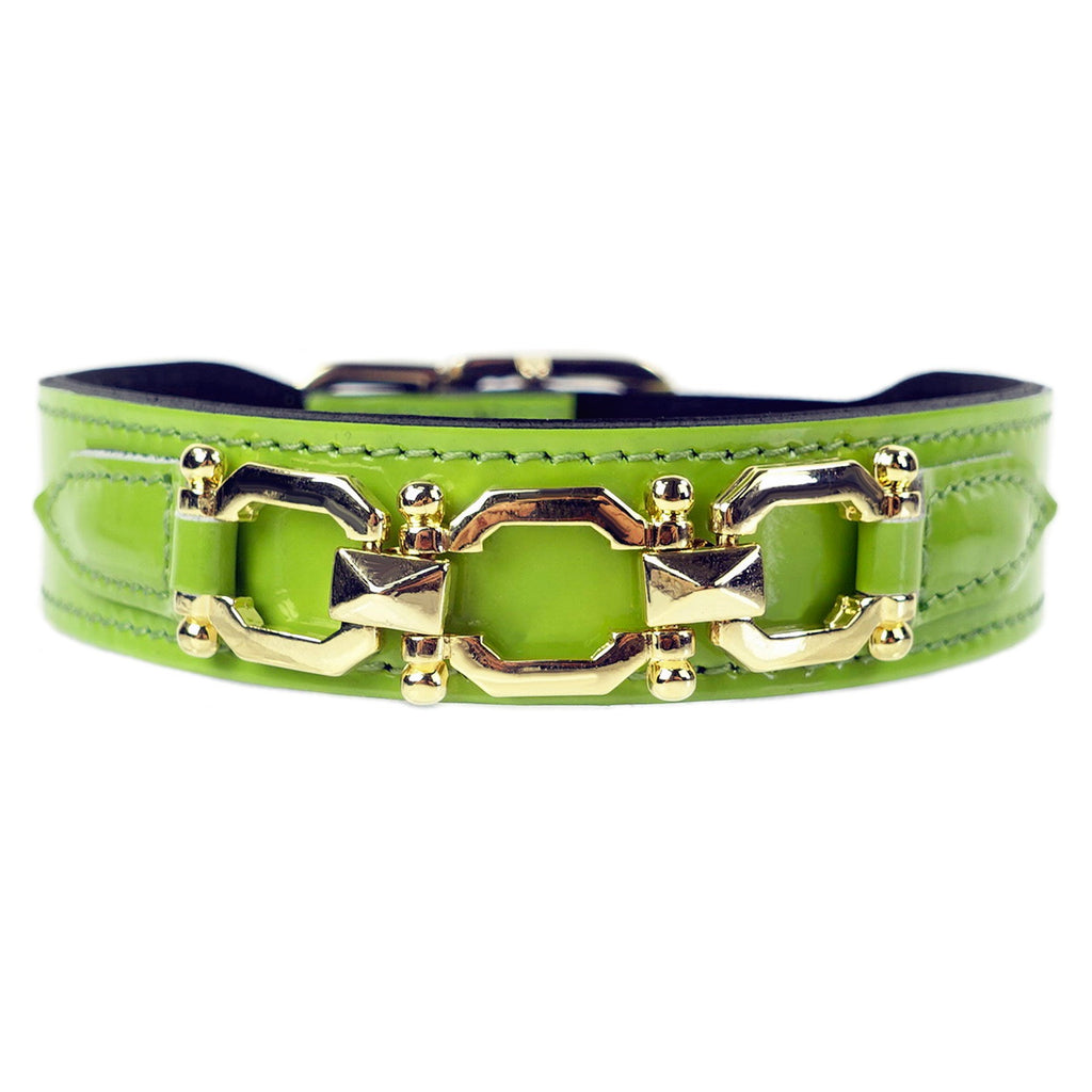 GEORGIA ROSE IN BRIGHT GREEN PATENT & GOLD DOG COLLAR, Collars - Bones Bizzness