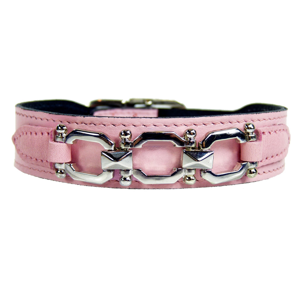GEORGIA ROSE IN SWEET PINK & NICKEL DOG COLLAR, Collars - Bones Bizzness