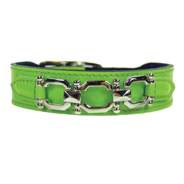 GEORGIA ROSE IN BRIGHT GREEN PATENT & NICKEL DOG COLLAR, Collars - Bones Bizzness