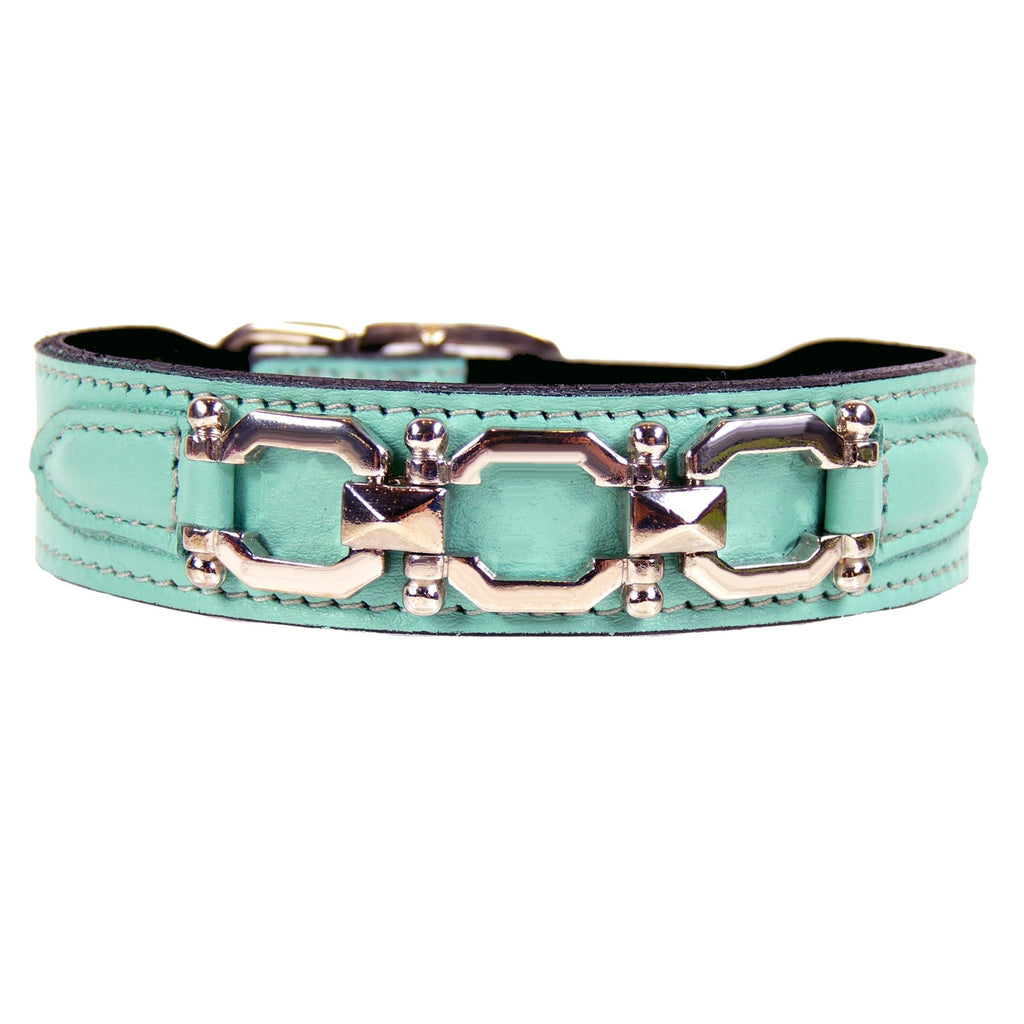 GEORGIA ROSE IN TURQUOISE & NICKEL DOG COLLAR, Collars - Bones Bizzness