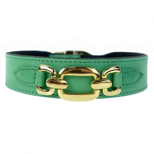GOOD AS GOLD IN KELLY GREEN DOG COLLAR