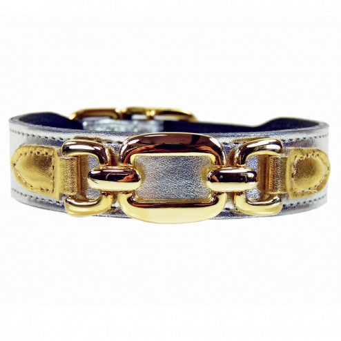 GOOD AS GOLD IN METALLIC SILVER & GOLD DOG COLLAR