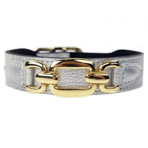 GOOD AS GOLD IN METALLIC SILVER DOG COLLAR