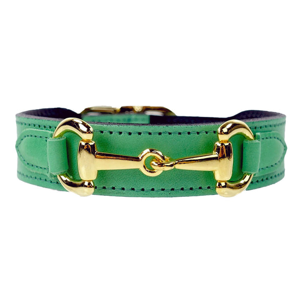 BELMONT IN KELLY GREEN & GOLD DOG COLLAR, Collars - Bones Bizzness