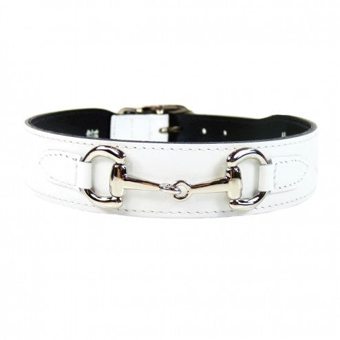 BELMONT IN WHITE PATENT & NICKEL DOG COLLAR, Collars - Bones Bizzness