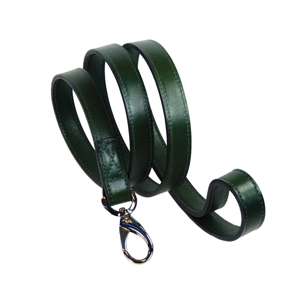 BELMONT DOG LEAD IN IVY GREEN & NICKEL, Leash - Bones Bizzness