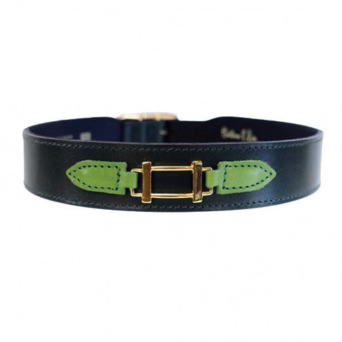 HAMILTON COLLECTION IN IVY GREEN, LIME GREEN & GOLD DOG COLLAR, Collars - Bones Bizzness