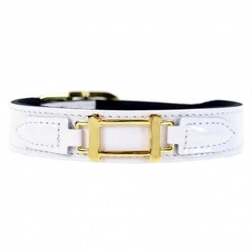 HAMILTON COLLECTION IN WHITE PATENT DOG COLLAR, Collars - Bones Bizzness