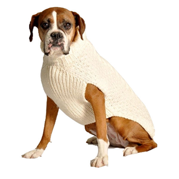 NATURAL CABLE WOOL DOG SWEATER - Bones Bizzness