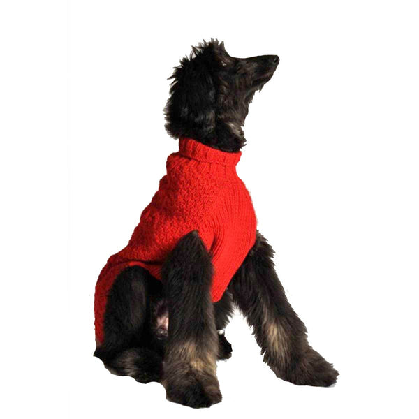 RED CABLE KNIT DOG SWEATER - Bones Bizzness