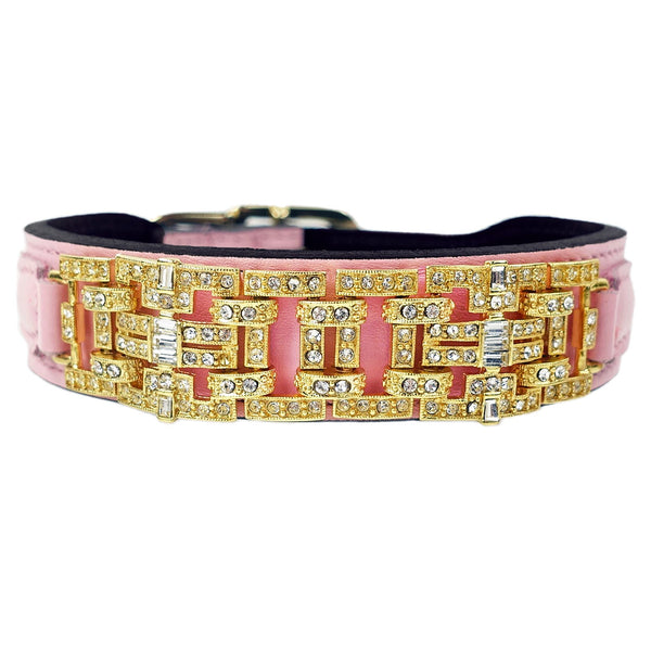 HAUTE COUTURE ART DECO IN SWEET PINK & GOLD DOG COLLAR, Collars - Bones Bizzness