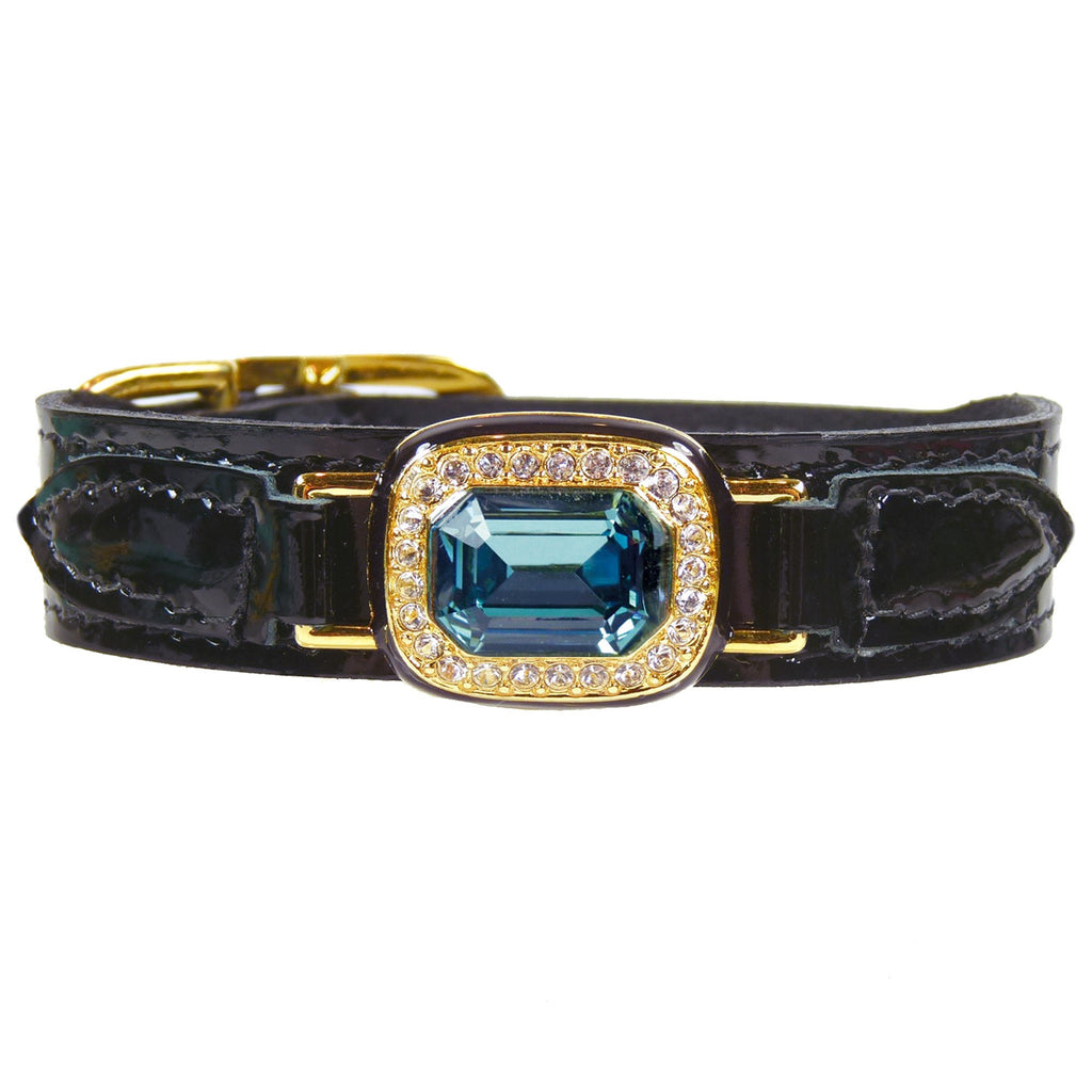 HAUTE COUTURE OCTAGON IN BLACK PATENT & INDIAN SAPPHIRE DOG COLLAR, Collars - Bones Bizzness