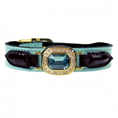 HAUTE COUTURE OCTAGON IN TURQUOISE & BLACK PATENT DOG COLLAR, Collars - Bones Bizzness