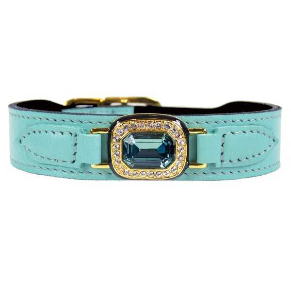 HAUTE COUTURE OCTAGON IN TURQUOISE DOG COLLAR, Collars - Bones Bizzness
