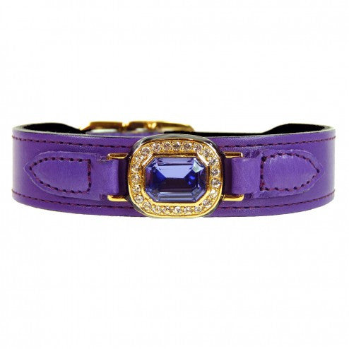 HAUTE COUTURE OCTAGON IN LAVENDER & TANZANITE DOG COLLAR, Collars - Bones Bizzness