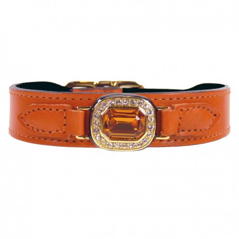 HAUTE COUTURE OCTAGON IN TANGERINE & TOPAZ DOG COLLAR, Collars - Bones Bizzness