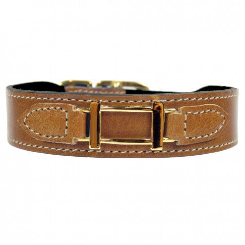 HAMILTON COLLECTION IN NATURAL & GOLD DOG COLLAR, Collars - Bones Bizzness