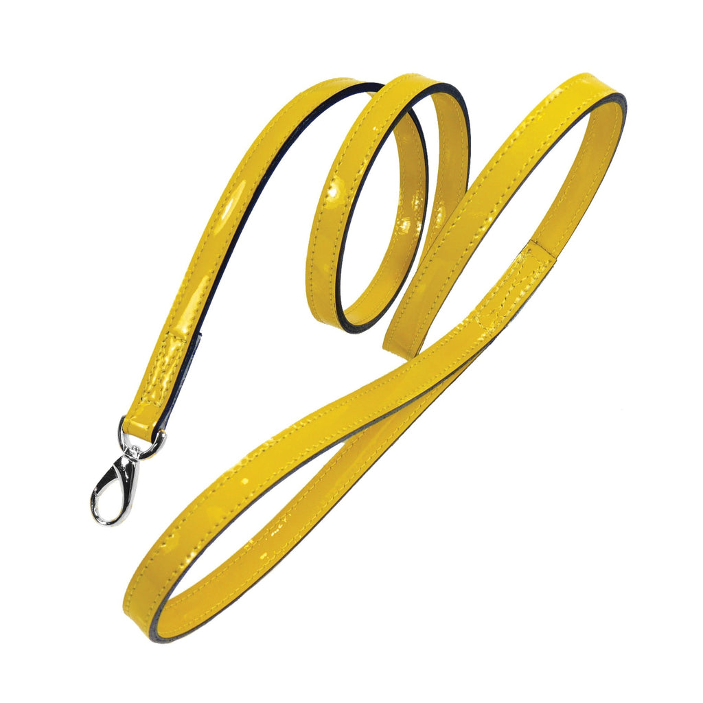 HAMILTON COLLECTION DOG LEAD IN CANARY YELLOW PATENT & NICKEL, Leash - Bones Bizzness