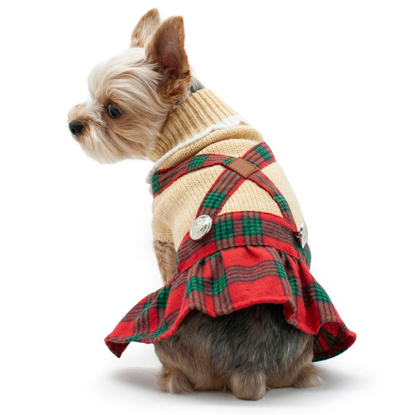 HOLIDAY PLAID DOG SWEATER DRESS